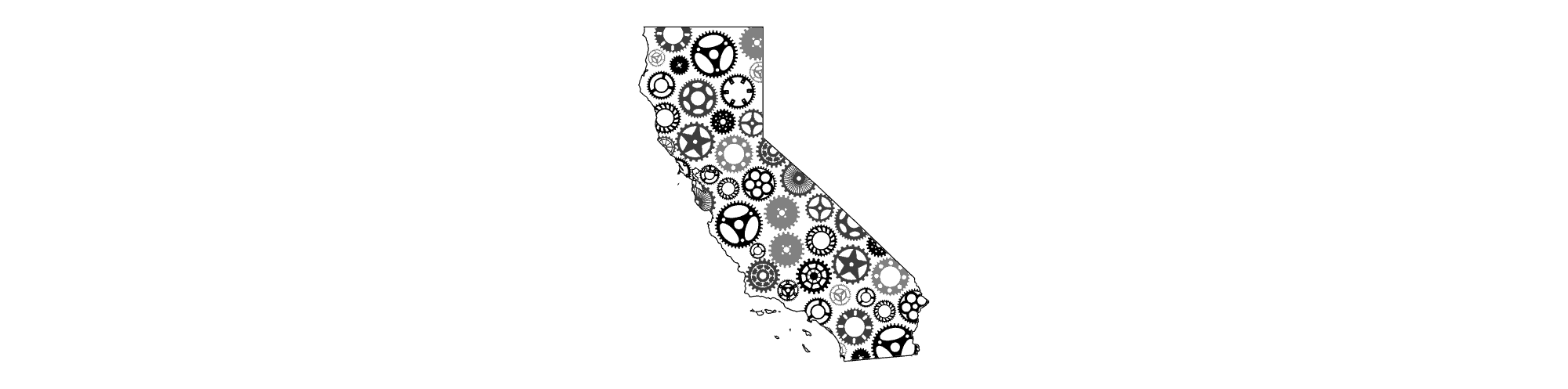 Map of California with interconnected gears in black and white on a simple background to show Clean-Vehicle adoption as a part of the green economy.